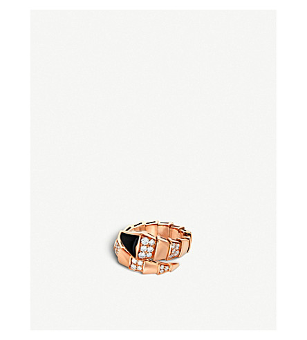 BVLGARI Serpenti 18kt pink-gold and black-onyx ring