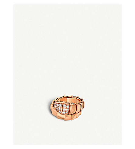 BVLGARI Serpenti 18kt pink-gold and diamond ring