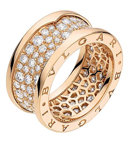BVLGARI B.zero1 18kt pink-gold and diamond ring