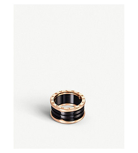BVLGARI B.zero1 18kt pink-gold and black-ceramic ring