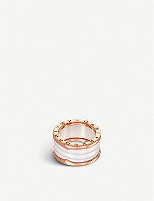 BVLGARI B.zero1 four-band 18ct pink-gold and ceramic ring