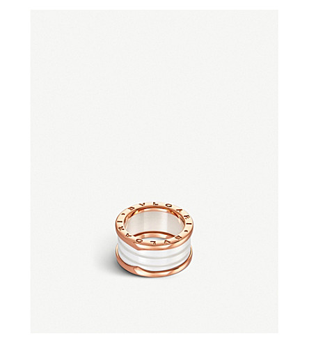 BVLGARI B.zero1 four-band 18kt pink-gold and ceramic ring