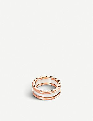BVLGARI B.zero1 two-band 18ct pink-gold and ceramic ring