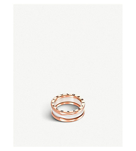 BVLGARI B.zero1 two-band 18kt pink-gold and ceramic ring