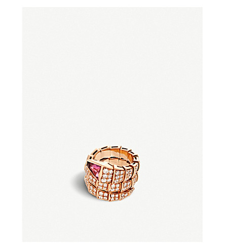 BVLGARI Serpenti double-coil 18kt pink-gold, diamond and rubellite ring