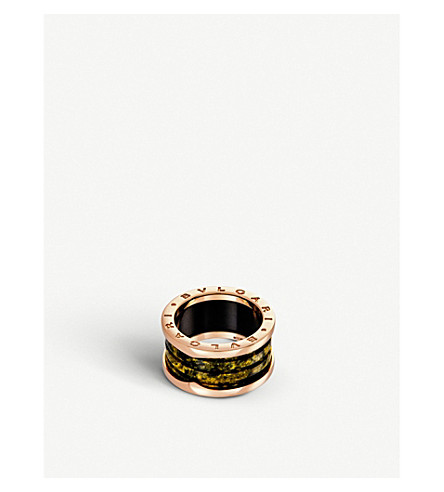 BVLGARI B.zero1 four-band 18kt pink-gold and green marble ring