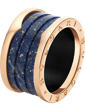 BVLGARI B.zero1 four-band 18ct pink-gold and blue marble ring