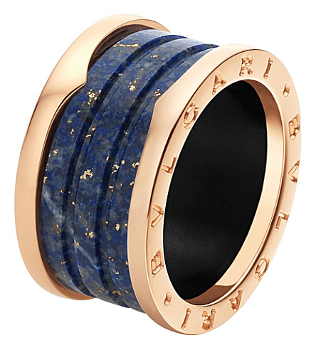 BVLGARI B.zero1 four-band 18kt pink-gold and blue marble ring