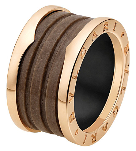 BVLGARI B.zero1 four-band 18kt pink-gold and brown marble ring