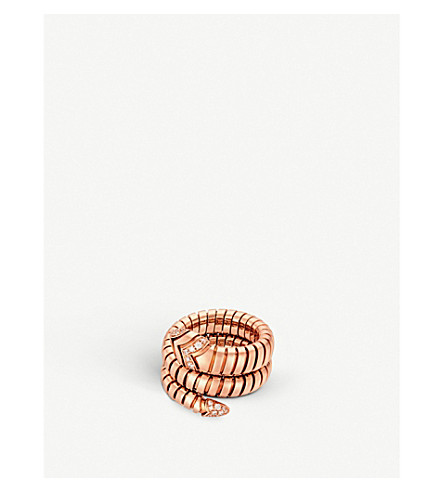BVLGARI Serpenti Tubogas 18kt pink-gold and diamond ring
