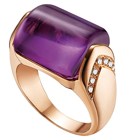 BVLGARI MVSA 18kt pink-gold, amethyst and diamond ring
