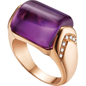 Mvsa 18kt pink-gold, amethyst and diamond ring