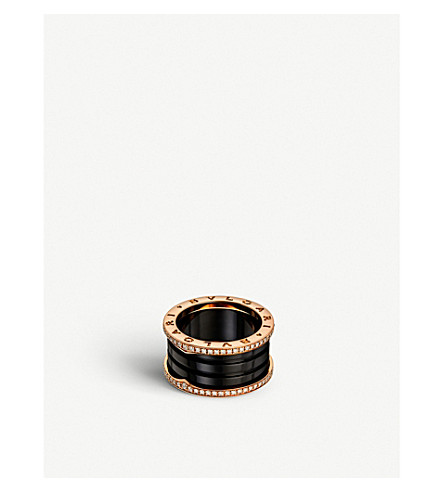 BVLGARI B.zero1 four-band 18kt pink-gold black ceramic and diamond ring