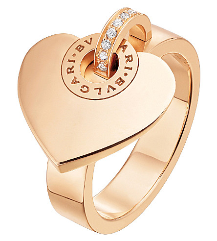 BVLGARI BVLGARI-BVLGARI CUORE 18kt pink-gold and pave diamond ring