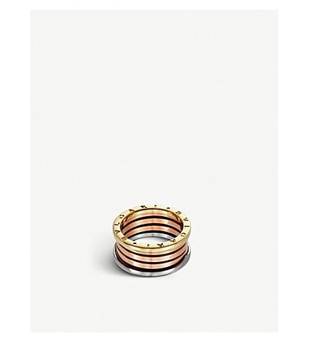 BVLGARI 湾 zero1 18ct 粉红色, 白色和黄色金戒指