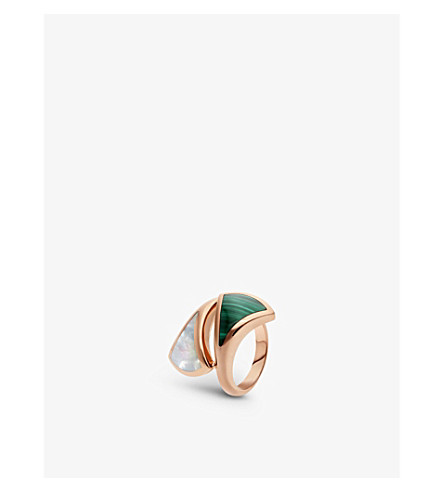 BVLGARI Divas' dream contraire 18kt rose-gold, mother-of-pearl and malachite ring