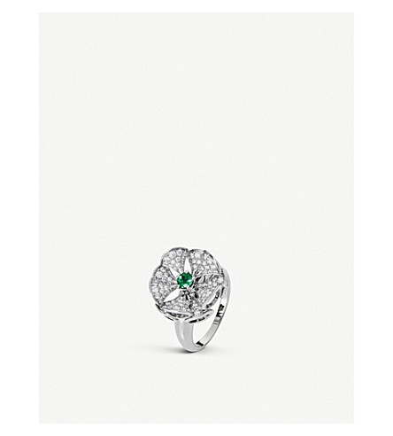 BVLGARI Divas' dream ring 18ct white-gold, diamond and emerald ring