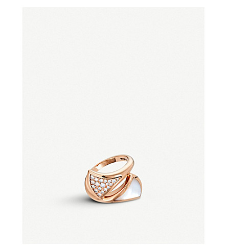 BVLGARI Divas' dream small 18ct rose-gold, mother-of-pearl and diamond ring
