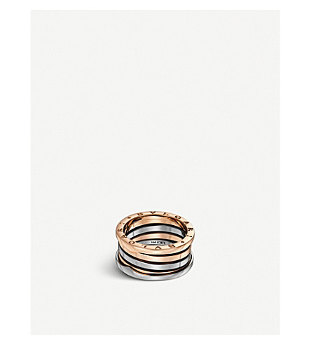 BVLGARI B.Zero1 18ct rose and white-gold band ring