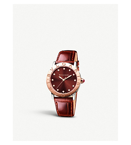 BVLGARI Bulgari Bulgari lady 18ct pink-gold and alligator watch