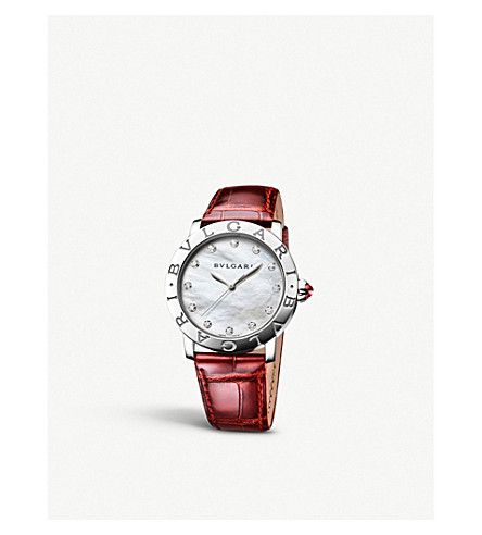 BVLGARI Bvlgari Bvlgari Lady steel, mother-of-pearl and diamond watch