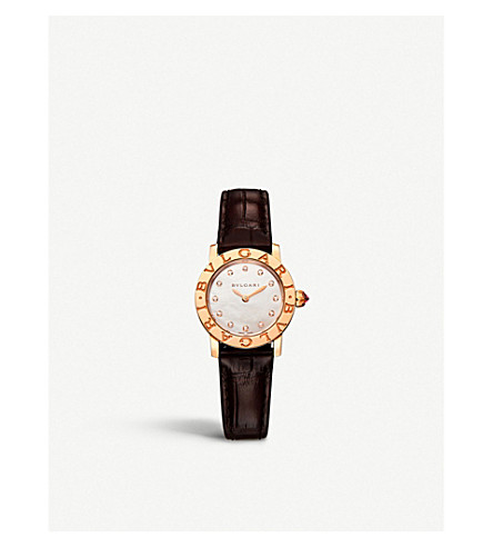 BVLGARI Bvlgari Bvlgari Lady 18kt pink-gold, mother-of-pearl and diamond watch