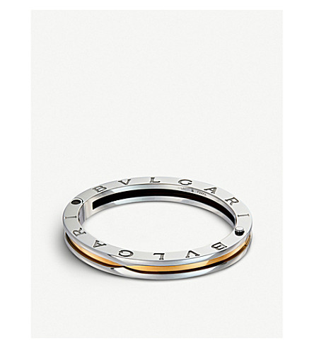 BVLGARI B.zero1 18kt yellow-gold and steel bangle bracelet