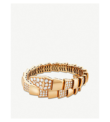 BVLGARI Serpenti 18kt pink-gold and pavé-diamond bracelet