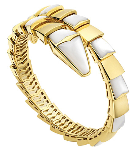 BVLGARI Serpenti 18kt yellow-gold and mother-of-pearl bracelet