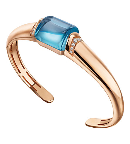 BVLGARI MVSA 18kt pink-gold, blue topaz and diamond bracelet