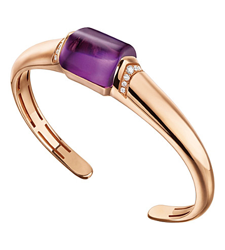 BVLGARI MVSA 18kt pink-gold, amethyst and diamond bracelet