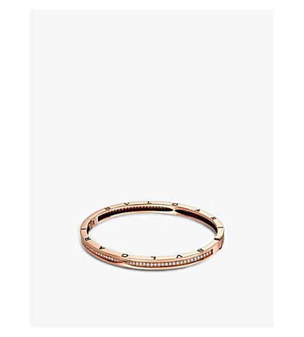 BVLGARI B.zero1 18kt pink-gold and pavé diamond bangle bracelet