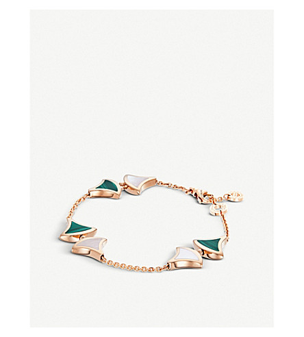 BVLGARI Divas' dream 18kt pink-gold malachite and mother of pearl bracelet