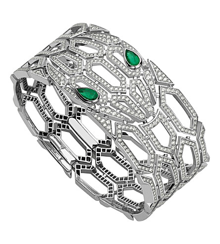 BVLGARI Serpenti Seduttori 18ct white-gold, emerald and diamond bracelet