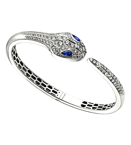 BVLGARI Serpenti 18kt white-gold, blue sapphire and diamond pave bracelet