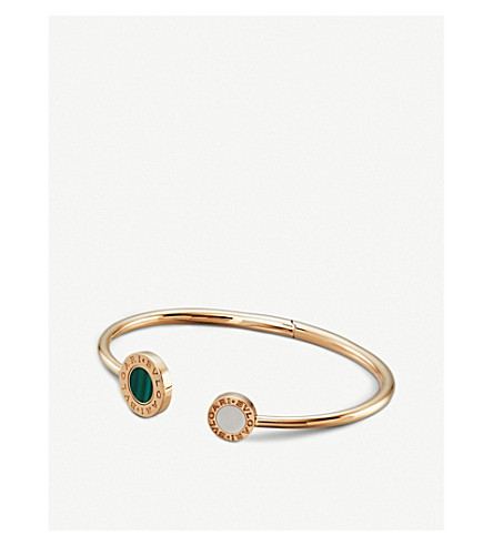 BVLGARI Bvlgari Bvlgari 18ct rose-gold, mother of pearl, onyx and malachite bracelet