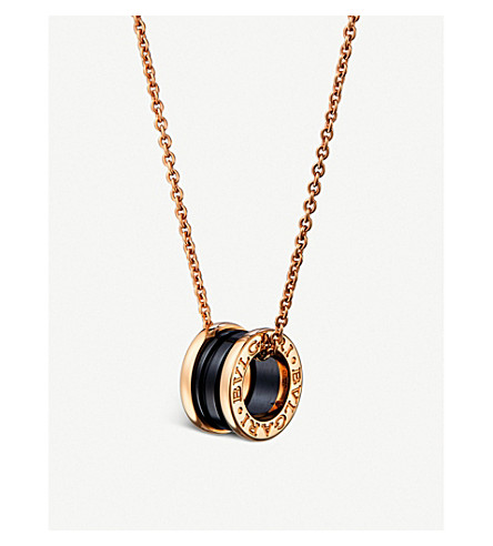 BVLGARI B.zero1 18ct pink-gold and ceramic necklace