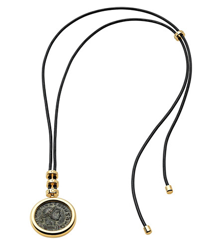 BVLGARI Monete 18kt yellow-gold necklace with antique bronze coin and lace