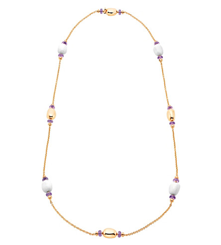 BVLGARI Mediterranean Eden Sautoir 18kt pink-gold necklace with white ceramic and amethyst beads