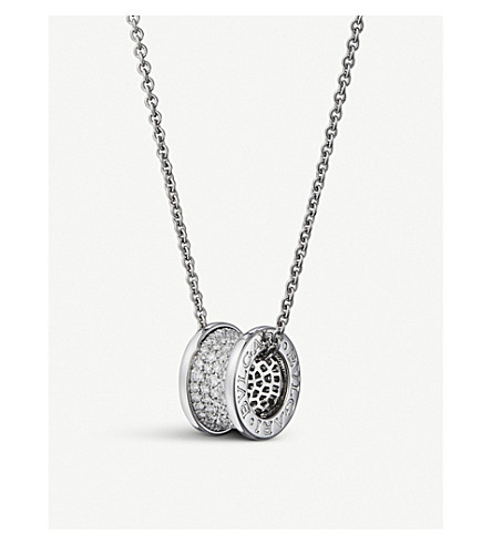 BVLGARI B.zero1 18kt white-gold and diamond pendant necklace