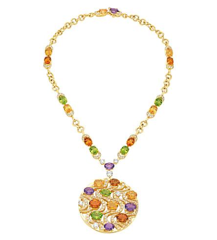 BVLGARI Mediterranean Eden 18kt yellow-gold necklace with peridots, citrine quartzes, amethysts, diamonds and pavé diamonds