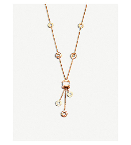BVLGARI B.zero1 18kt pink-gold necklace with white ceramic and pavé diamonds
