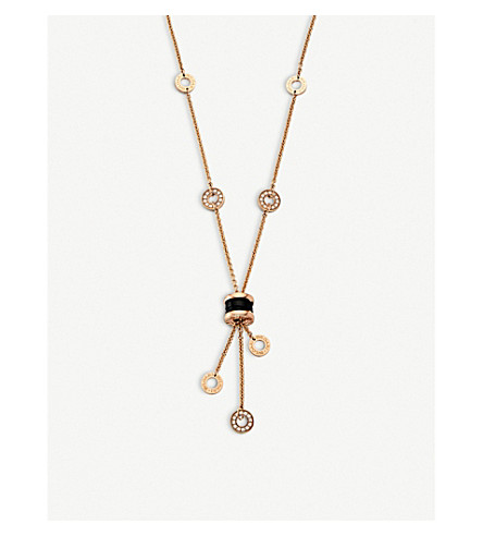 BVLGARI B.zero1 18kt pink-gold necklace with black ceramic and pavé diamonds