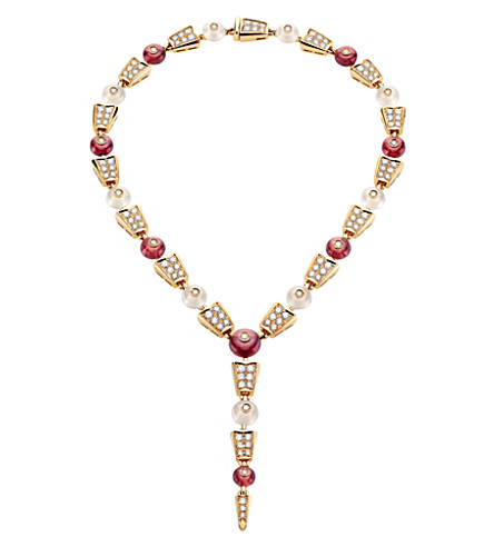 BVLGARI Serpenti 18kt pink-gold rubellite, moon quartz and diamond necklace