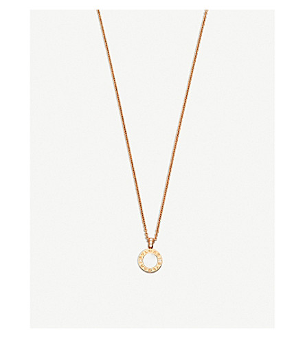 BVLGARI BVLGARI-BVLGARI 18kt pink-gold pendant necklace with mother-of-pearl, onyx and pavé diamonds