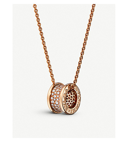 BVLGARI B.zero1 18kt pink-gold and diamond necklace