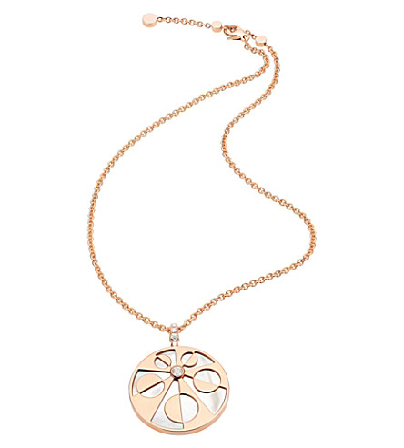 BVLGARI Mediterranean Eden 18kt pink-gold necklace with mother of pearl and pavé diamonds