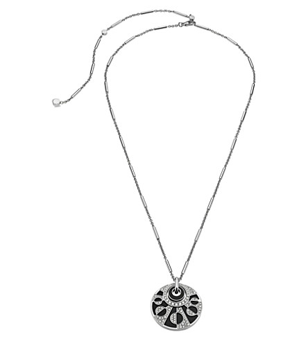 BVLGARI Intarsio 18kt white-gold necklace with black onyx and pavé diamonds.