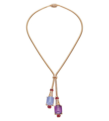 BVLGARI MVSA 18kt pink-gold necklace with amethyst, chalcedony, rubellite beads and pavé diamonds