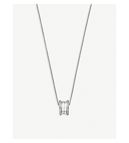 BVLGARI B.zero1 18kt white-gold and diamond necklace